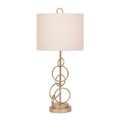Antique Gold Metal Circles Table Lamp