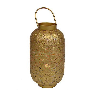 Punched Gold Filigree Barrel Lantern