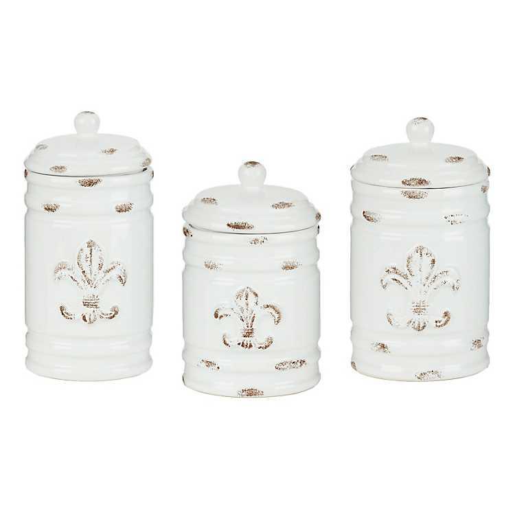 Distressed ivory fleur de lis canisters set of 3 kirklands - Fleur de lis canisters ...