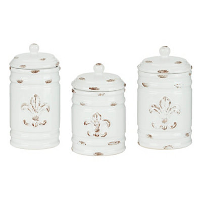 Distressed Ivory Fleur-de-lis Canisters, Set of 3