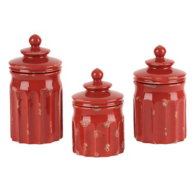 Distressed Red Ribbed Canisters, Set of 3