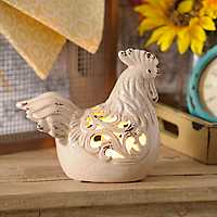 Cream Ceramic Rooster Night Light