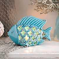 Blue Ceramic Fish Night Light