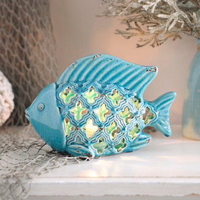 Blue Ceramic Fish Night Light