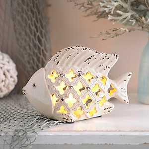 Cream Ceramic Fish Night Light