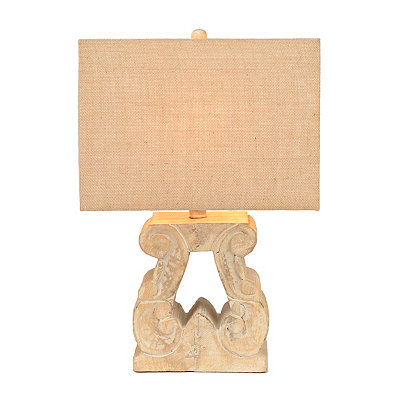 Hand-Carved Pedestal Table Lamp