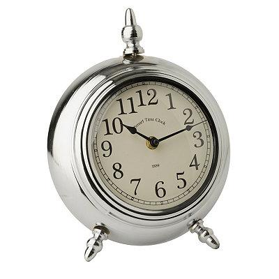 Metallic Silver Round Tabletop Clock