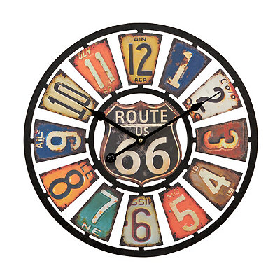 Route 66 License Plate Clock