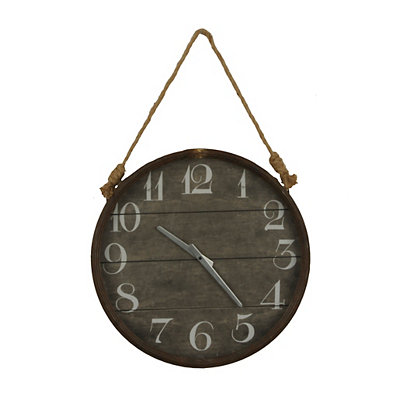 Round Wood Plank Hanging Rope Clock