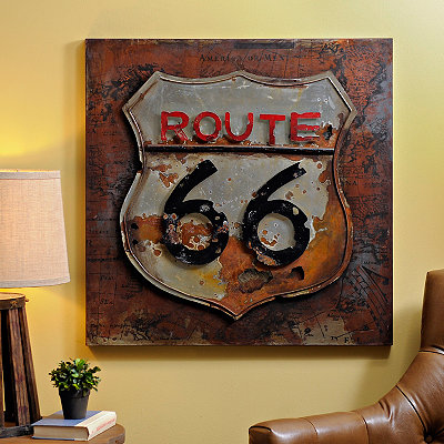 Distressed Route 66 Road Sign Metal Plaque