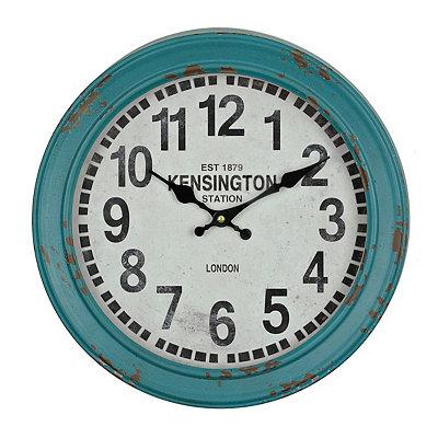 Distressed Turquoise Round Metal Clock