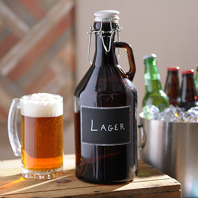 Chalkboard Amber Glass Growler