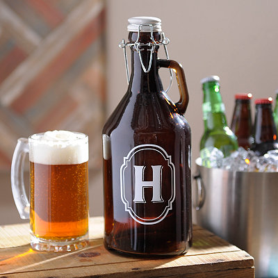 Monogram H Amber Glass Growler