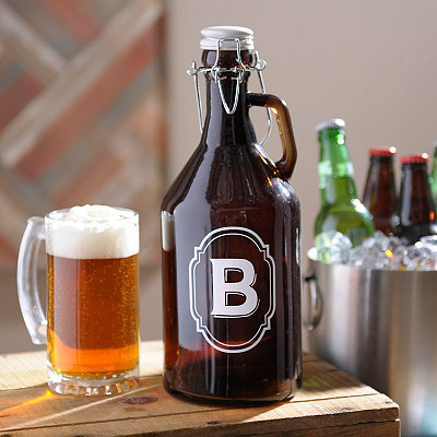 Monogram B Amber Glass Growler