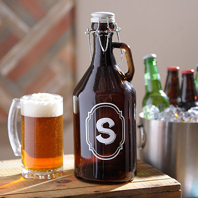 Monogram S Amber Glass Growler