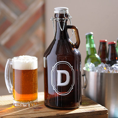Monogram D Amber Glass Growler