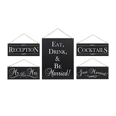 Black and White Wedding Reception Signs, Set of 5