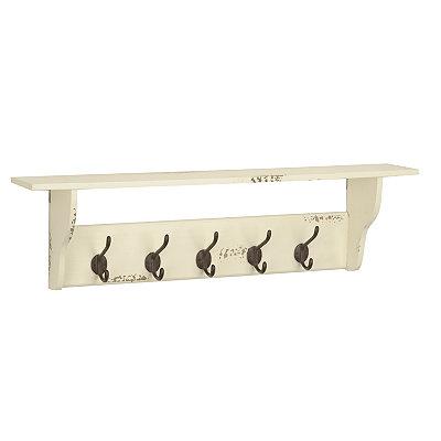Distressed White 5-Hook Wooden Shelf