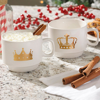 Stackable Gold Crown Mugs, Set of 2