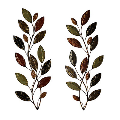 Belmont Fall Leaves Metal Plaques, Set of 2