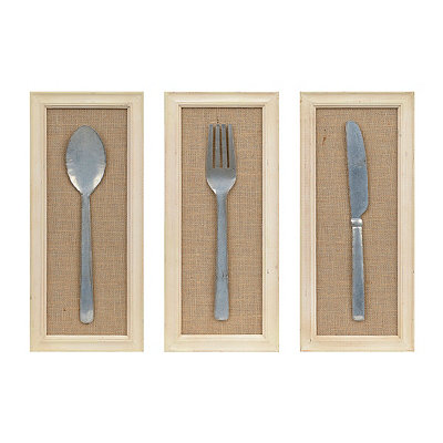 Kitchen Utensils Framed Wooden Plaques, Set of 3