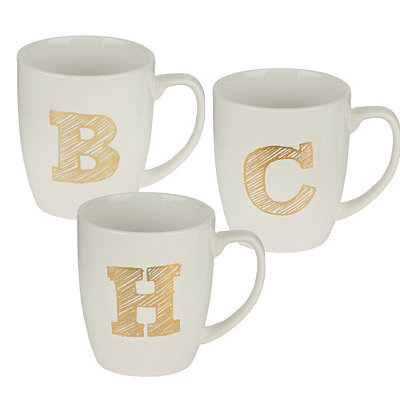 Gold Sketch Monogram Mugs