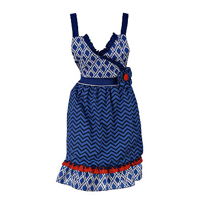 Blue and Red Pom Pom Apron