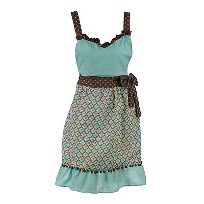 Aqua and Brown Pom Pom Apron