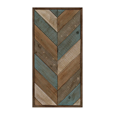 Patchwork Chevron I Wood Plank Plaque