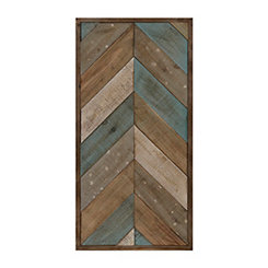 Patchwork Chevron II Wood Plank Plaque