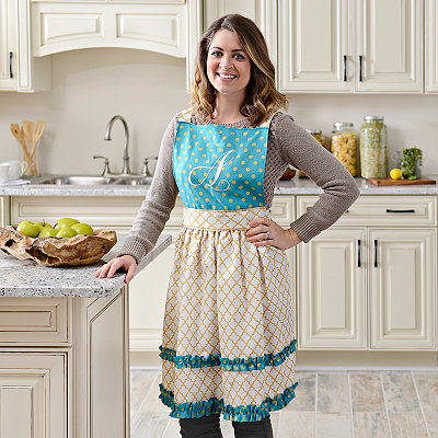 Gold Polka Dot Monogram Aprons