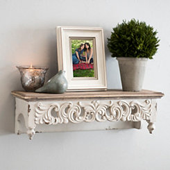 Ivory Scroll Baroque Shelf, 21.75 in.