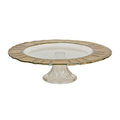 Greek Key Gold Rim Cake Stand