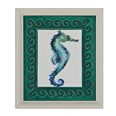 Watercolor Seahorse Framed Art Print