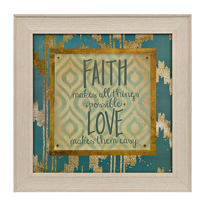 Jeweled Faith and Love Ikat Framed Art Print
