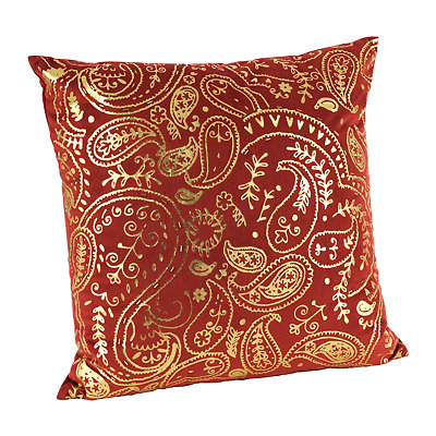 Red Metallic Paisley Pillow