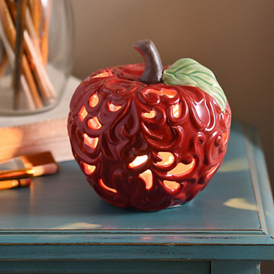 Red Scrolled Apple Night Light