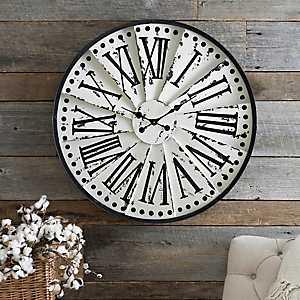 Distressed Cream Spoked Clock