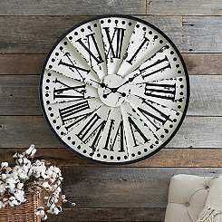 Distressed Cream Spoked Clock