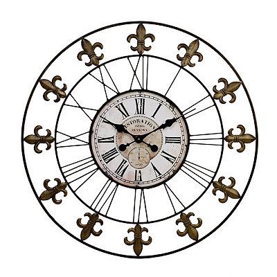 Bronze Fleur-de-Lis Open Face Clock