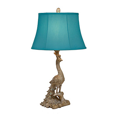 Silver Leaf Peacock Table Lamp