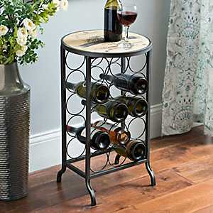 Chardonnay Wood and Metal Wine Rack Table
