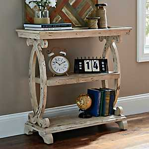 Mellie Distressed White Console Table