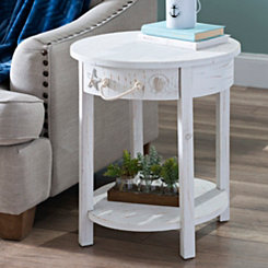 Whitewash 1-Drawer Round Coastal Accent Table