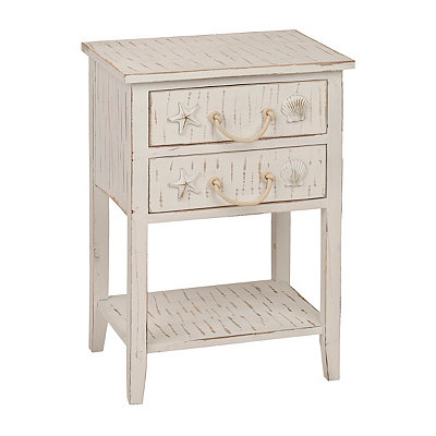 Whitewash 2-Drawer Coastal Side Table