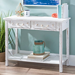 Whitewash 2-Drawer Coastal Console Table