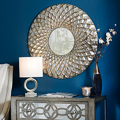 Lila Silver Embossed Honeycomb Mirror