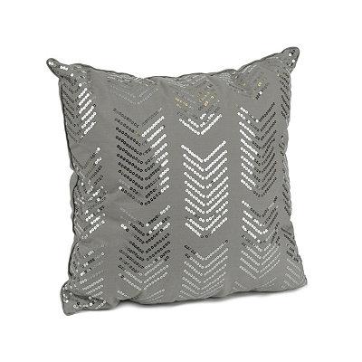 Gray Hadara Sequin Arrow Pillow