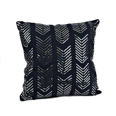 Navy Hadara Sequin Arrow Pillow