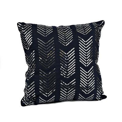 Navy Hadara Sequin Arrow Pillow